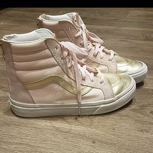 Girl's VANS Pink & Gold Leather High Tops Size 3